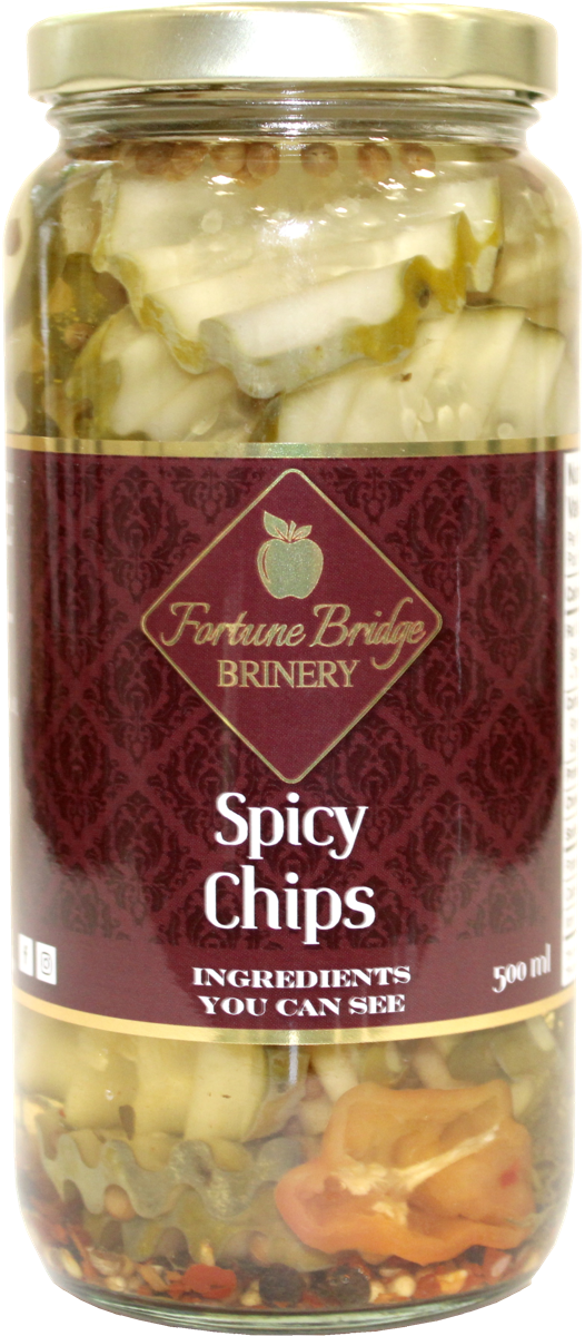 fortune bridge brinery - spicy dill pickles - chips - pei