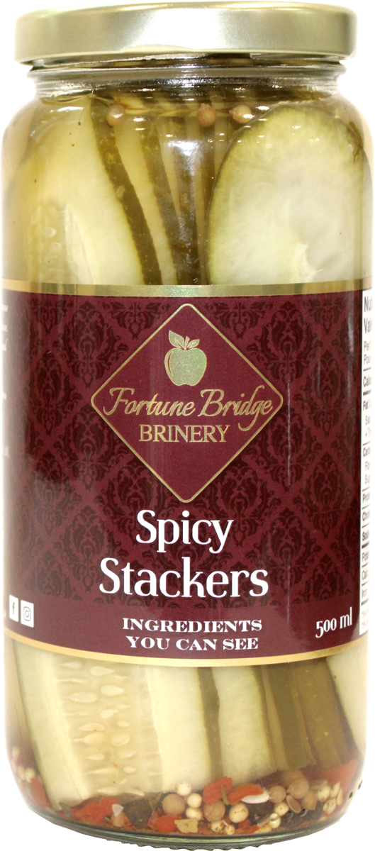 fortune bridge brinery - spicy dill pickles - stackers - pei